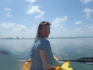 Christine paddling around Caye Caulker
