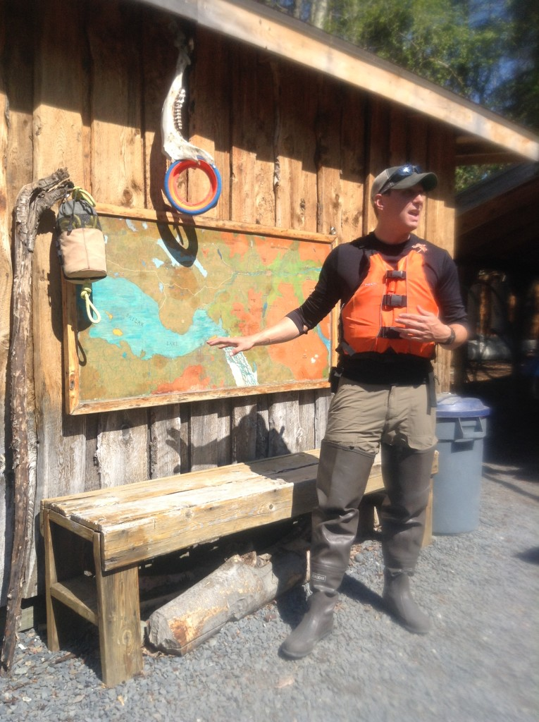 Adam Maire, adventure guiding in alaska, fins to spurs, Adam giving briefings