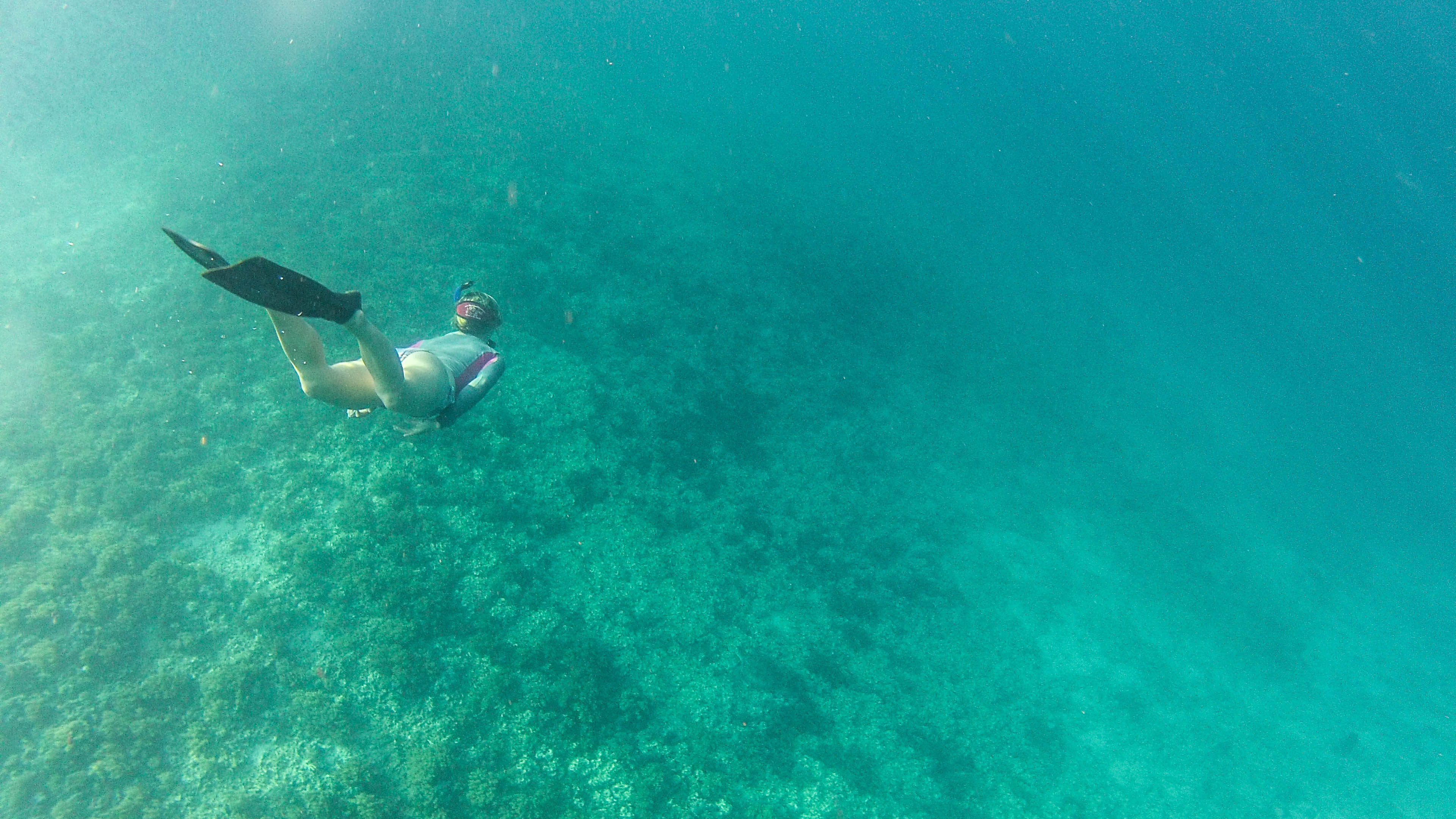 Christine West, Fins to Spurs, Back Underwater, Gili Trawangan, Indonesia, Freedive