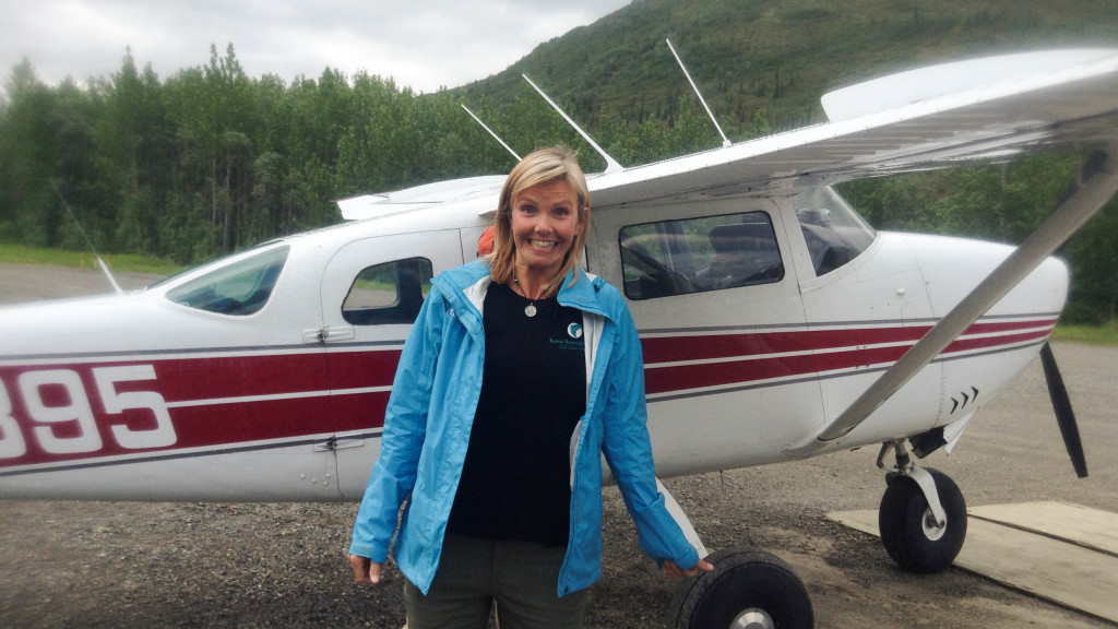christine west, fins to spurs, adventure tours in alaska, alaska, christine with plane