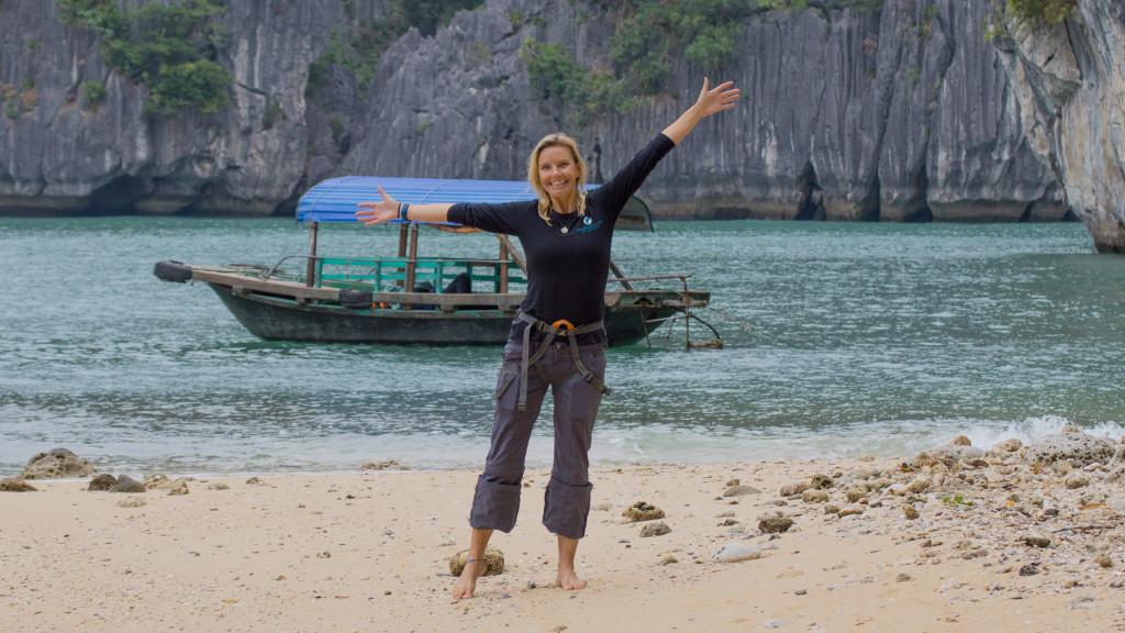 Christine West, boat, Rock Climbing, Ha Long Bay, Vietnam, Fins to Spurs, Adventure Work