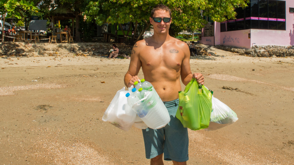 Adam Maire, Fins to Spurs, Ao Nang, Thailand, Bags of Trash, Beach Clean Up