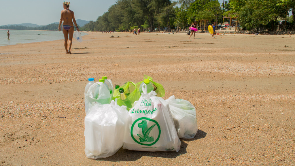 Christine West, Beach Clean Up, Fins to Spurs, Ao Nang, Thailand, Bags of Trash
