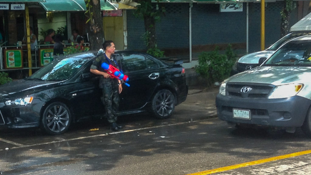 Fins to Spurs, Songkran,Thai Military Water Gun, Thailand, Ao Nang, 2016