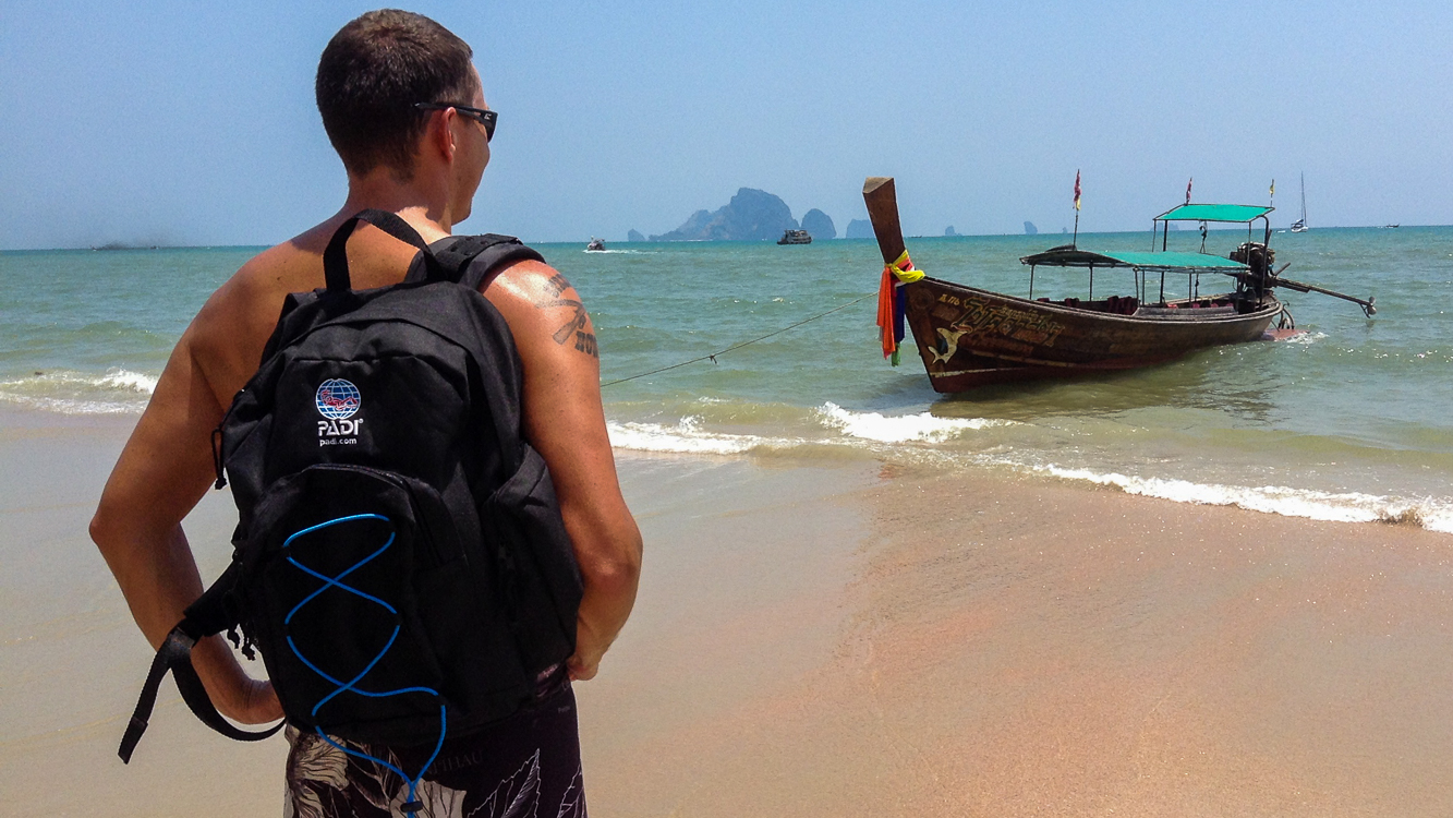 Adam Maire, Fins to Spurs, AmbassaDivers, Thailand, PADI backpack