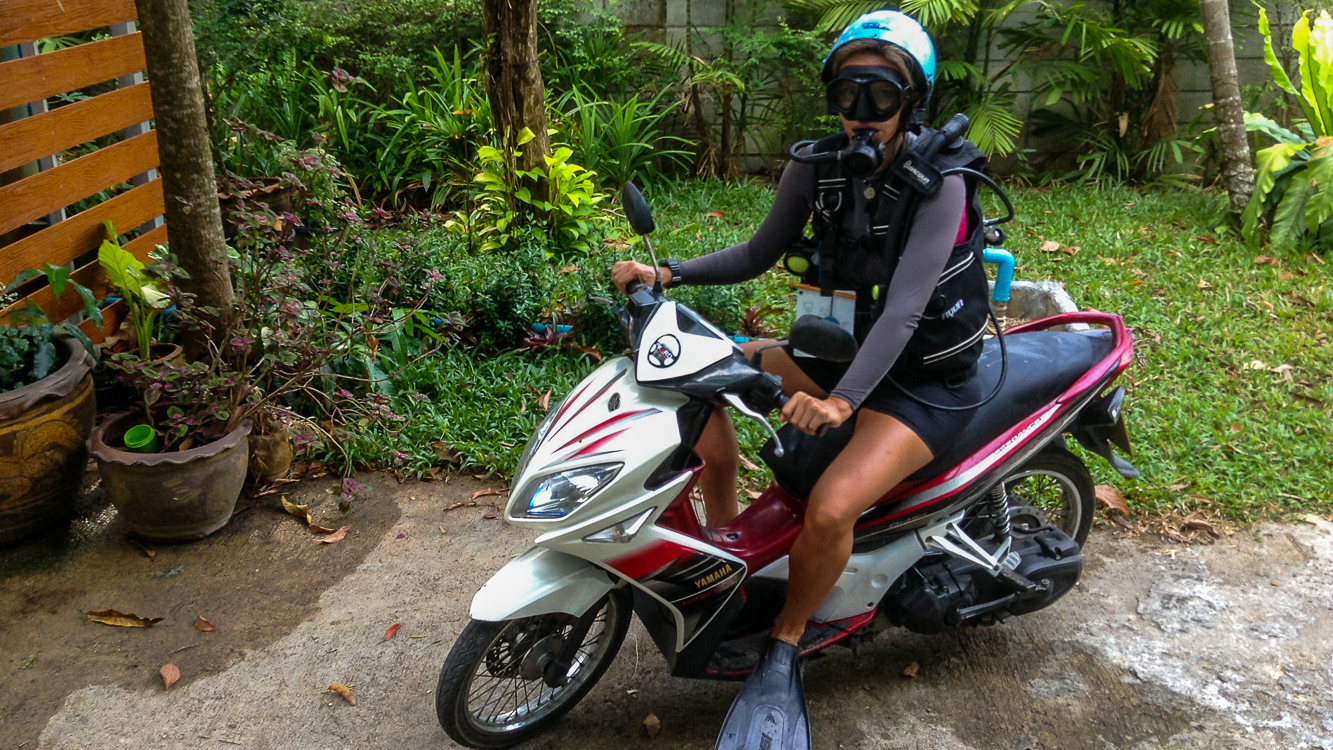 Christine West, Fins to Spurs, AmbassaDivers, Thailand, Scuba dive, motor bike